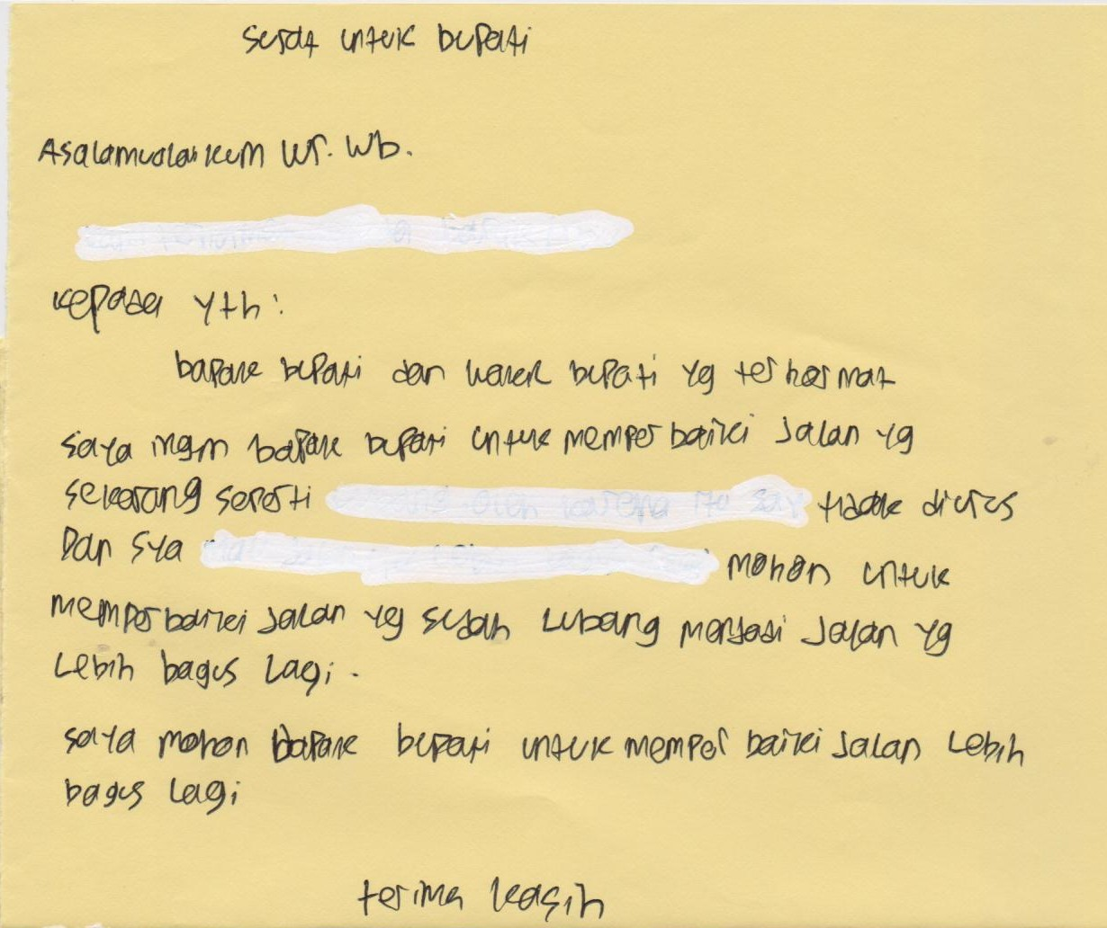 Surat untuk Bupati