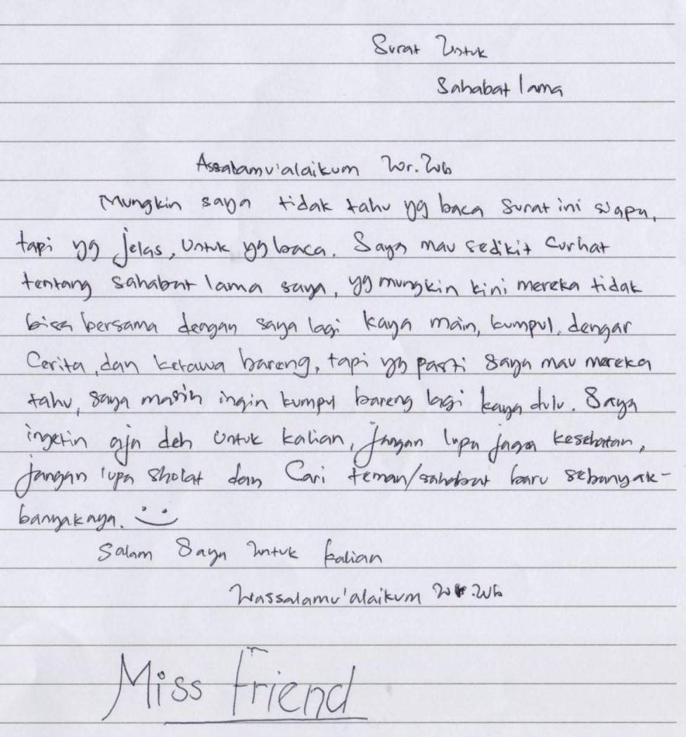 Surat untuk sahabatlama