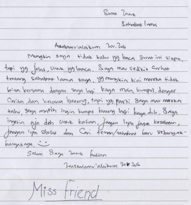 Surat Untuk Sahabat Lama Sahabat Pena